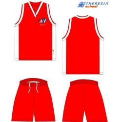 Equipaje de baloncesto, rojo y blanco con serigrafía.