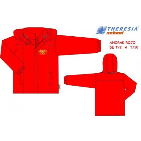 Anorak en rojo, con capucha e interior en forro polar. Bordado. Del colegio Sagrado Corazón de Tafira