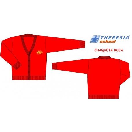 Rebeca lana roja para Infantil, 1º y 2º primaria. Bordada. Del colegio Sagrado Corazón de Tafira.