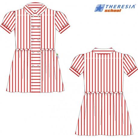 Vestido de rayas rojas y blancas, manga corta para infantil, 1º y 2º de primaria.Del colegio Sagrado Corazón de Tafira
