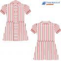 Vestido de rayas rojas y blancas, manga corta para infantil, 1º y 2º de primaria.