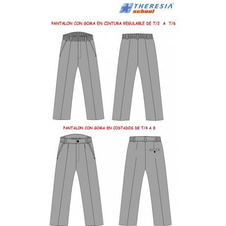 Pantalón largo de uniforme color gris, engomado. Para Infantil, 1º y 2º de primaria. Del colegio Sagrado Corazón de Tafira