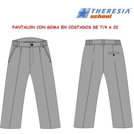 Pantalón largo de uniforme color gris, con botón. Para primaria del 2º y 3º ciclo. Del colegio Sagrado Corazón de Tafira