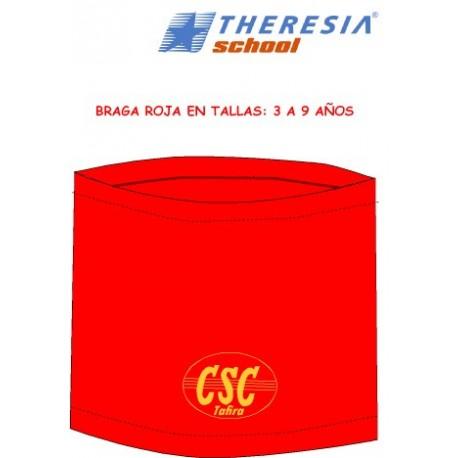 Braga de cuello polar en color rojo, con bordado