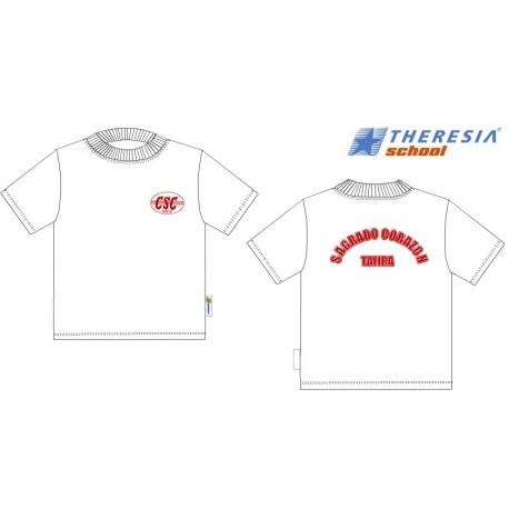 Camiseta blanca de manga corta y con serigrafía.
