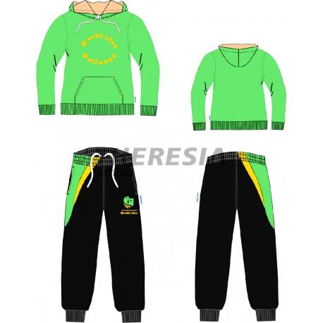 Chándal acetato verde, negro y amarillo con bordado