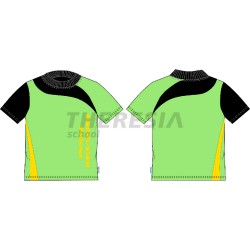 Camiseta infantil manga corta, verde, negra y amarilla con serigrafía
