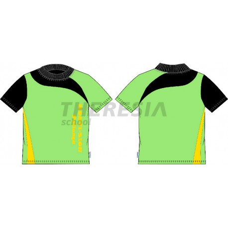 Camiseta técnica en manga corta, verde, negra y amarillo