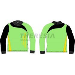 Camiseta técnica en manga larga, verde, negra y amarilla con serigrafía