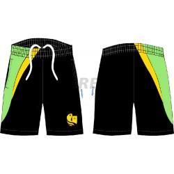Bermuda técnica negra, verde y amarilla con serigrafia