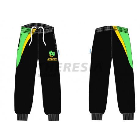 Pantalón de chándal de acetato color negro, verde y amarillo