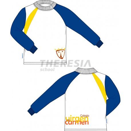 Camiseta técnica manga larga blanca, marino y amarillo