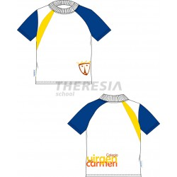 Camiseta técnica manga corta blanca, marino y amarillo