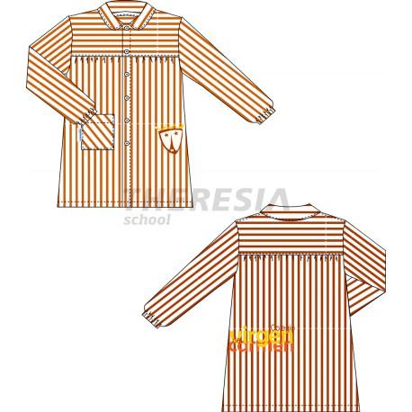 Babero raya marrón con bordado