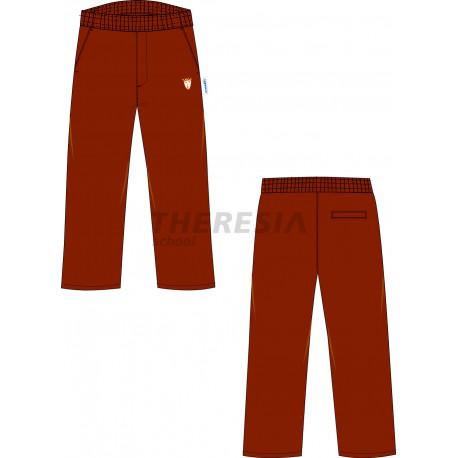 Pantalón uniforme engomado marrón con bordado