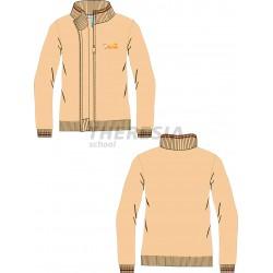 Chaqueta uniforme punto, cremallera marrón y bordado