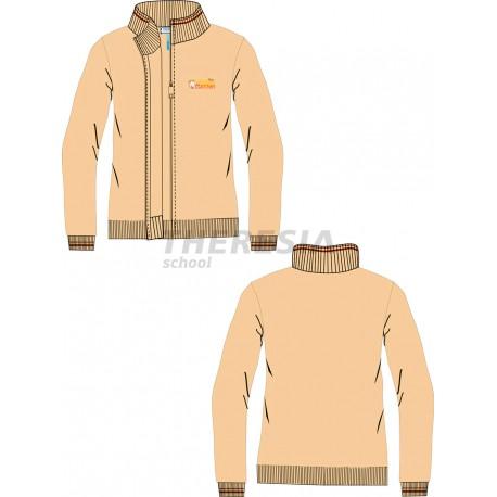 Chaqueta uniforme de punto con cremallera en color marrón y con bordado