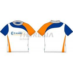 Camiseta manga corta, técnica. Blanca, con raya naranja y marino