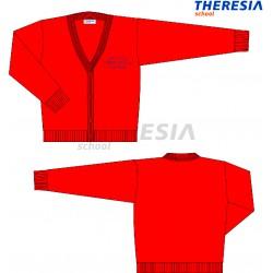 Chaqueta de lana roja con bordado.