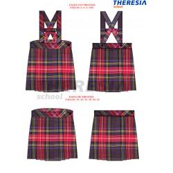 Falda de uniforme, de cuadros de los colores marino y rojo.