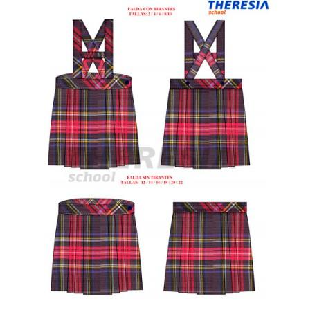Falda de uniforme, de cuadros de los colores marino y rojo. Del colegio Fatima
