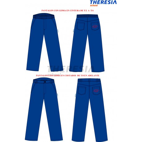 Pantalón de uniforme, de color marino con bolsillos y bordado. Del colegio Fatima