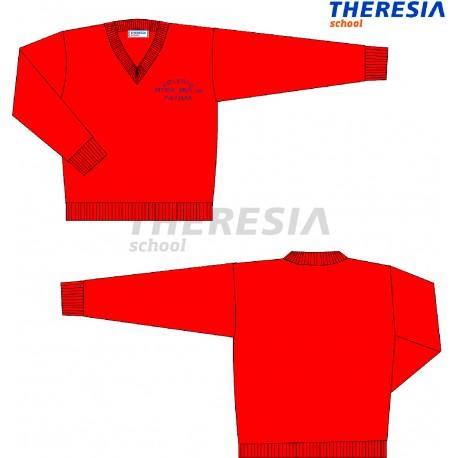 Sueter de lana color rojo con bordado. Del colegio Fatima