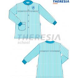 Babero de rayas de color celeste y blanco y con bordado.