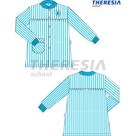 Babero de rayas de color celeste y blanco y con bordado. Del colegio Fatima