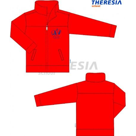 Chaqueta de uniforme con tejido de felpa y en color rojo. Con el bordado del colegio a la altura del corazón.