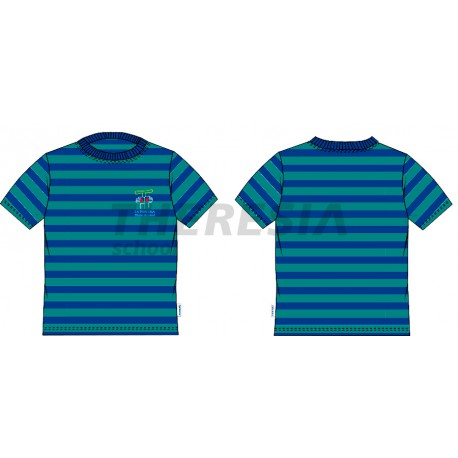 Camiseta deporte manga corta rayas verde y marino