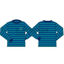 Camiseta deporte manga larga rayas verde y marino con bordado