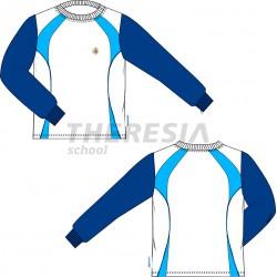 Camiseta ML c/ clic. Blanca, marino y celeste