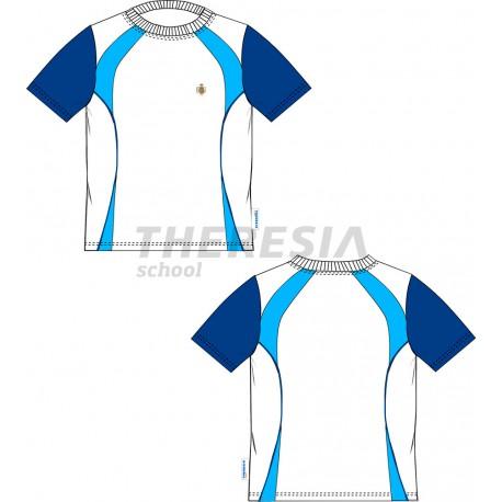 Camiseta MC c/ clic. Blanca, marino y celeste