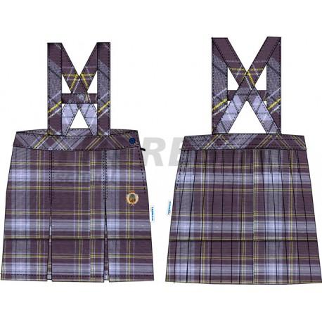 Falda de uniforme de cuadros con tirantes