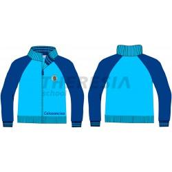 Chaqueta uniforme celeste de punto con cremallera y bordado