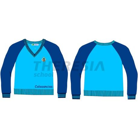Suéter de uniforme en punto celeste y marino con bordado